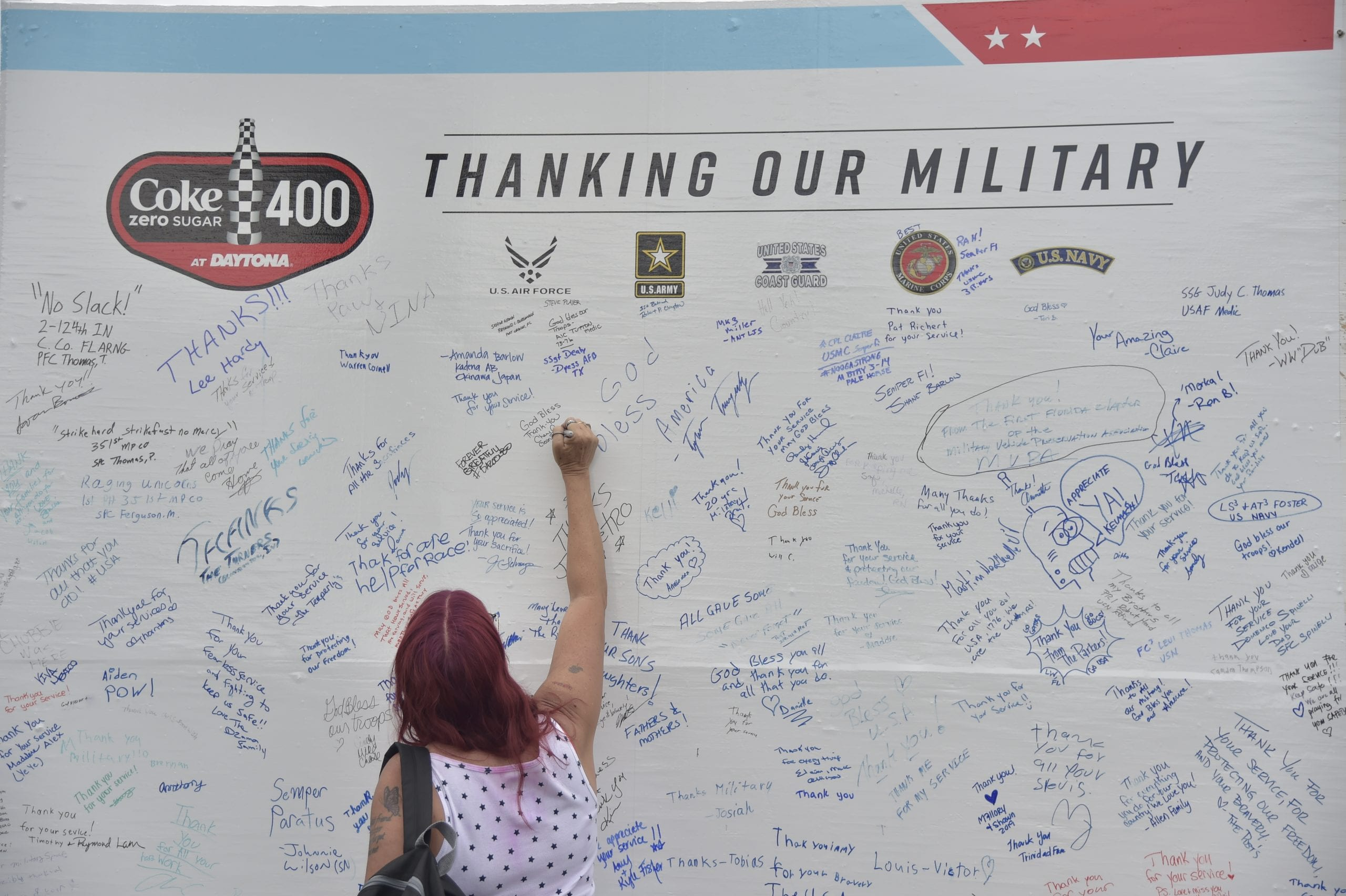 DAYTONA BEACH, FLORIDA - JULY 06: The NASCAR Salutes branding on the activation, military during the Monster Energy NASCAR Cup Series Coke Zero Sugar 400 at Daytona International Speedway on July 06, 2019 in Daytona Beach, Florida. (Photo by Jeff Curry/Getty Images)   Getty Images