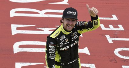Ryan Blaney rises late, holds off Byron, Larson for narrow win at Michigan
