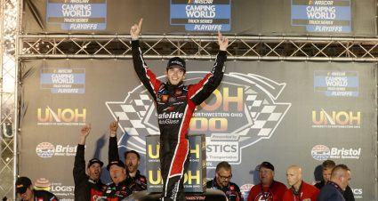 Chandler Smith wins first career Truck Series race in thriller at Bristol to advance to Round of 8